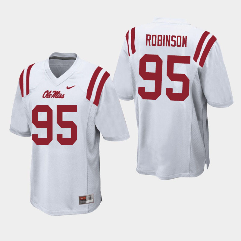 Men #95 Tavius Robinson Ole Miss Rebels College Football Jerseys Sale-White