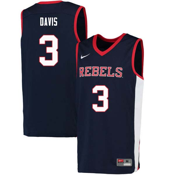 Men #3 Terence Davis Ole Miss Rebels College Basketball Jerseys Sale-Navy