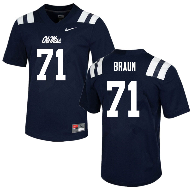 Men #71 Tobias Braun Ole Miss Rebels College Football Jerseys Sale-Navy