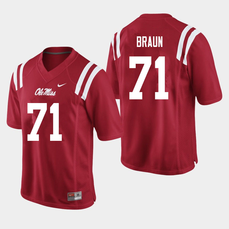 Men #71 Tobias Braun Ole Miss Rebels College Football Jerseys Sale-Red