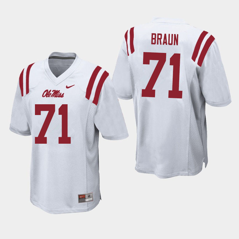 Men #71 Tobias Braun Ole Miss Rebels College Football Jerseys Sale-White