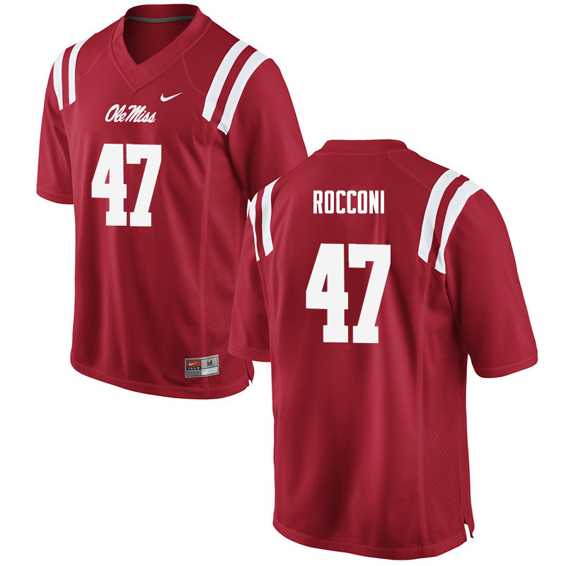 Men Ole Miss Rebels #47 Ty Rocconi College Football Jerseys-Red