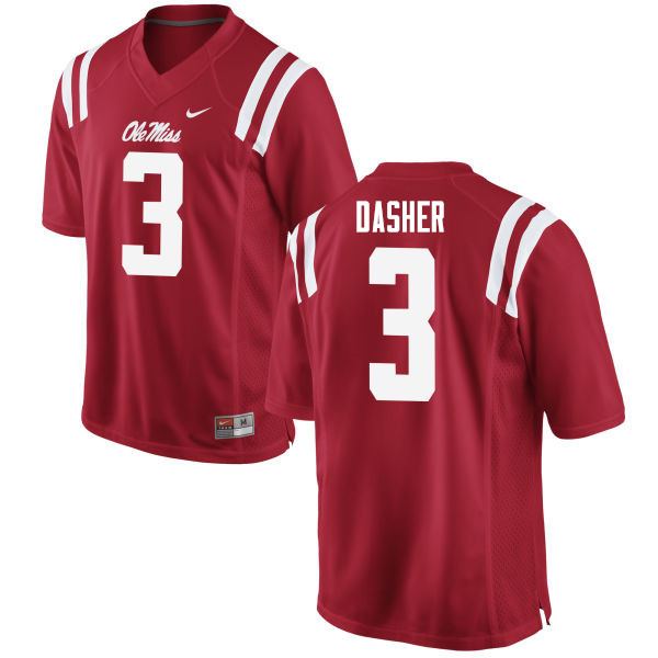 Men #3 Vernon Dasher Ole Miss Rebels College Football Jerseys Sale-Red