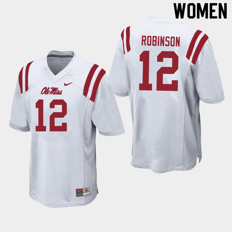 Women #12 Austrian Robinson Ole Miss Rebels College Football Jerseys Sale-White