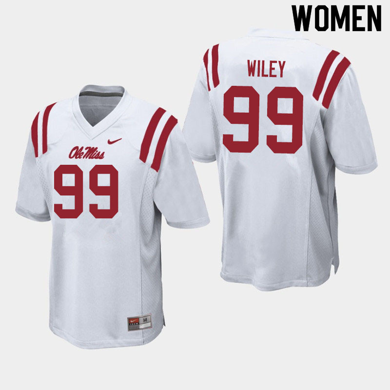Women #99 Charles Wiley Ole Miss Rebels College Football Jerseys Sale-White