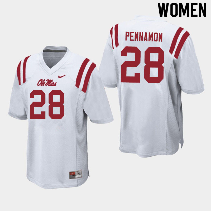 Women #28 D'Vaughn Pennamon Ole Miss Rebels College Football Jerseys Sale-White