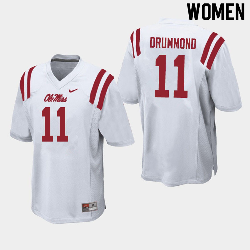Women #11 Dontario Drummond Ole Miss Rebels College Football Jerseys Sale-White