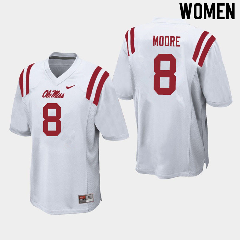 Women #8 Elijah Moore Ole Miss Rebels College Football Jerseys Sale-White
