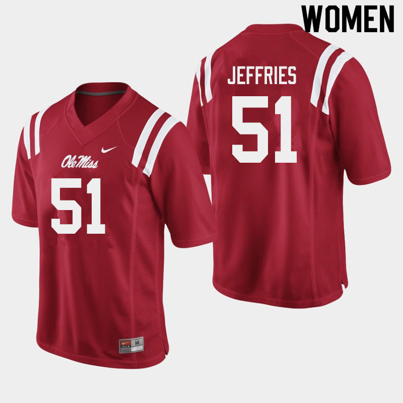 Women #51 Eric Jeffries Ole Miss Rebels College Football Jerseys Sale-Red