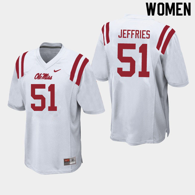 Women #51 Eric Jeffries Ole Miss Rebels College Football Jerseys Sale-White