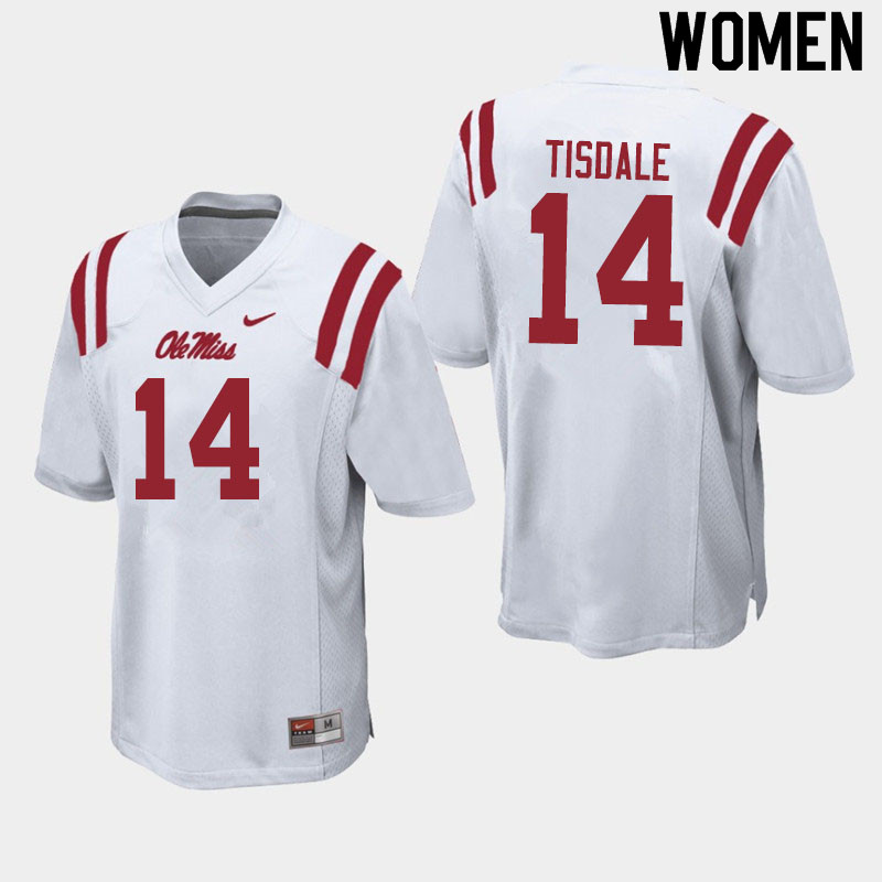 Women #14 Grant Tisdale Ole Miss Rebels College Football Jerseys Sale-White