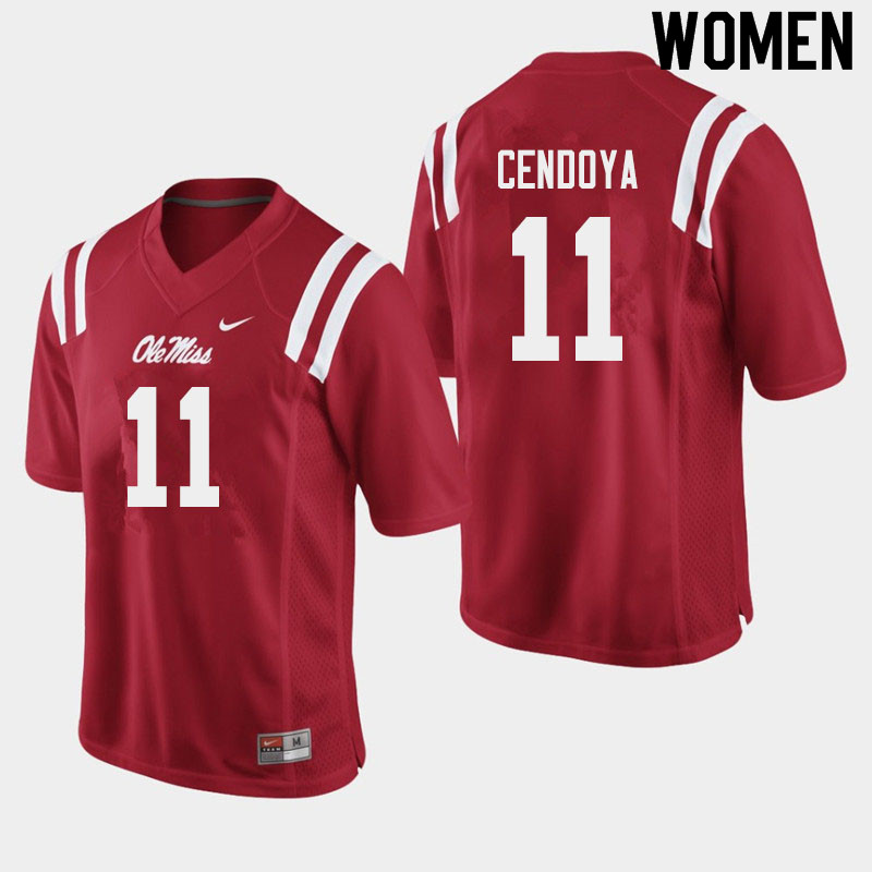 Women #11 Jacob Cendoya Ole Miss Rebels College Football Jerseys Sale-Red