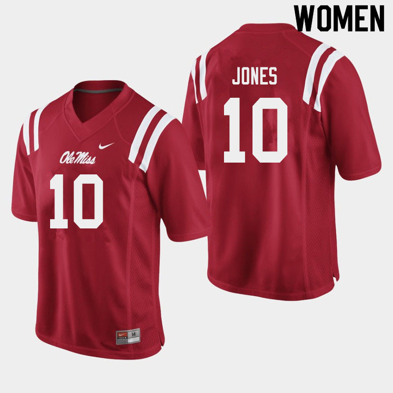 Women #10 Jacquez Jones Ole Miss Rebels College Football Jerseys Sale-Red