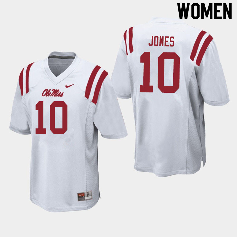 Women #10 Jacquez Jones Ole Miss Rebels College Football Jerseys Sale-White