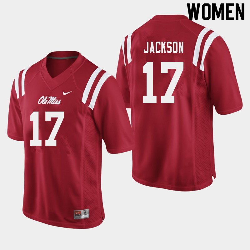 Women #17 Jadon Jackson Ole Miss Rebels College Football Jerseys Sale-Red