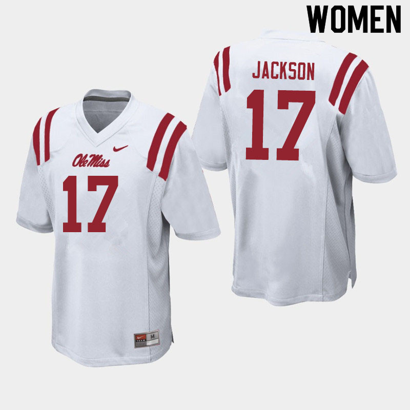 Women #17 Jadon Jackson Ole Miss Rebels College Football Jerseys Sale-White