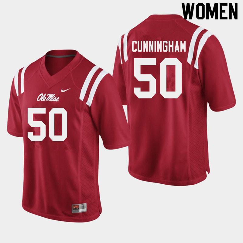 Women #50 Jalen Cunningham Ole Miss Rebels College Football Jerseys Sale-Red