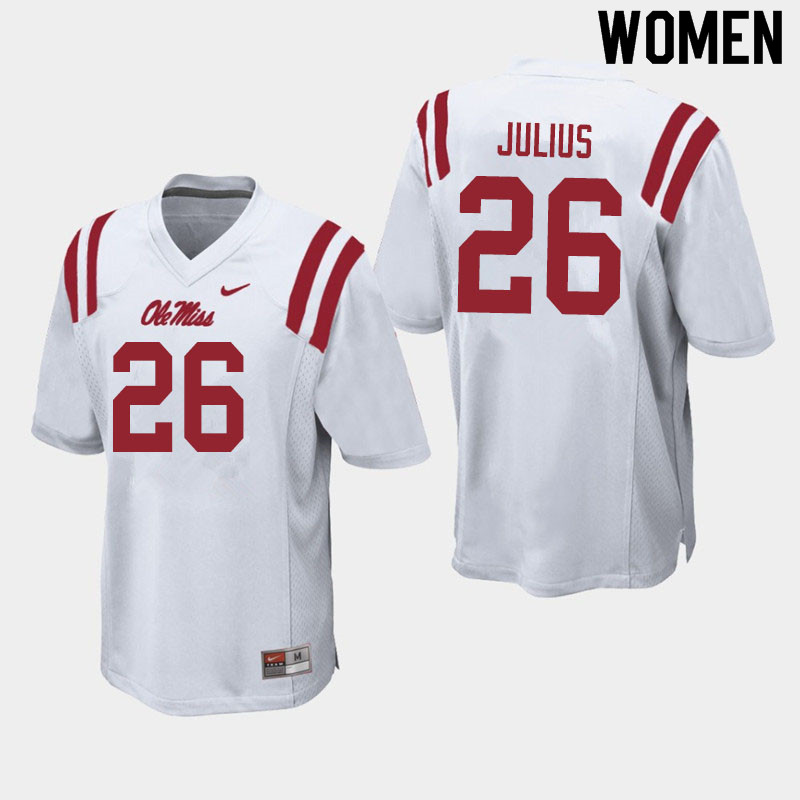 Women #26 Jalen Julius Ole Miss Rebels College Football Jerseys Sale-White