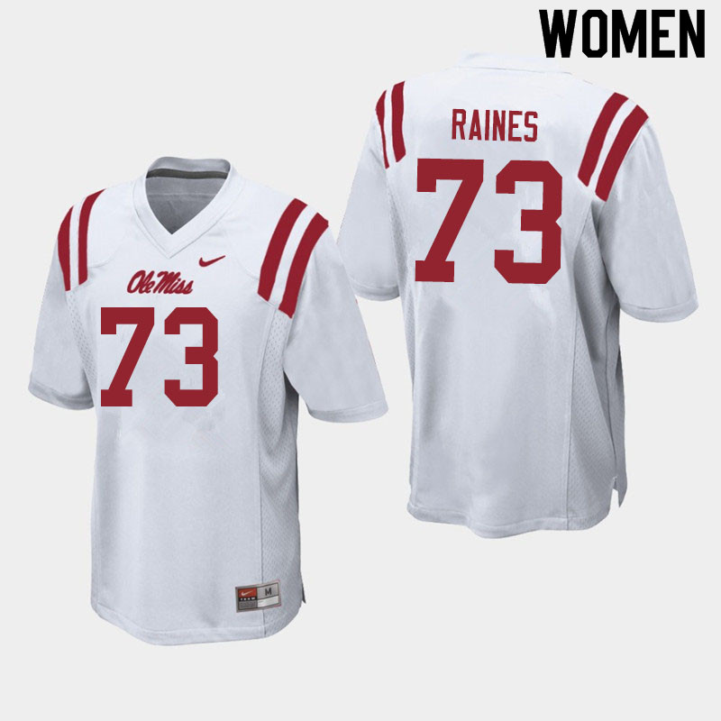 Women #73 John Raines Ole Miss Rebels College Football Jerseys Sale-White