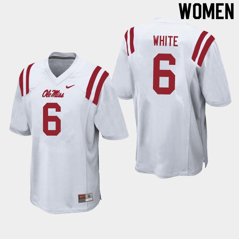 Women #6 Kam'Ron White Ole Miss Rebels College Football Jerseys Sale-White