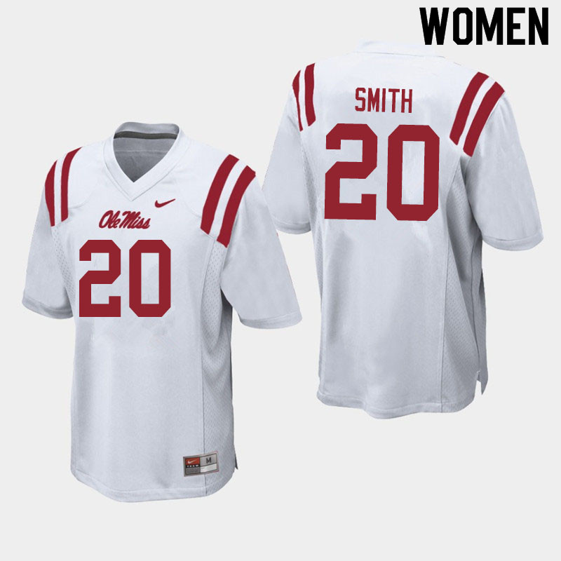 Women #20 Keidron Smith Ole Miss Rebels College Football Jerseys Sale-White