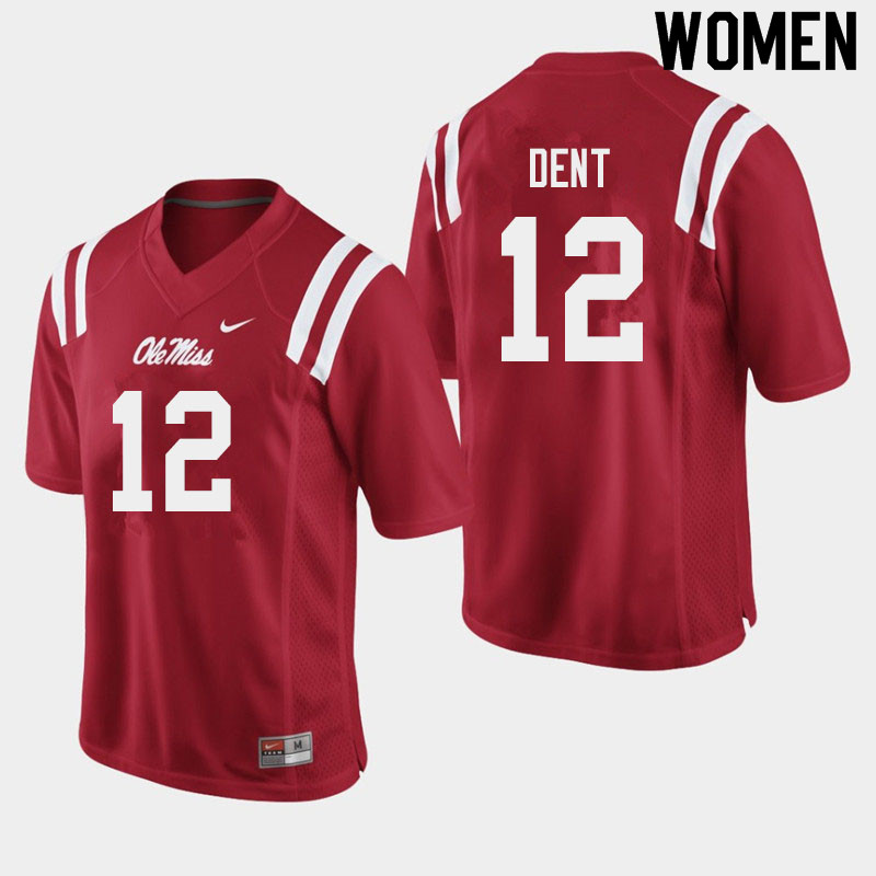 Women #12 Kinkead Dent Ole Miss Rebels College Football Jerseys Sale-Red