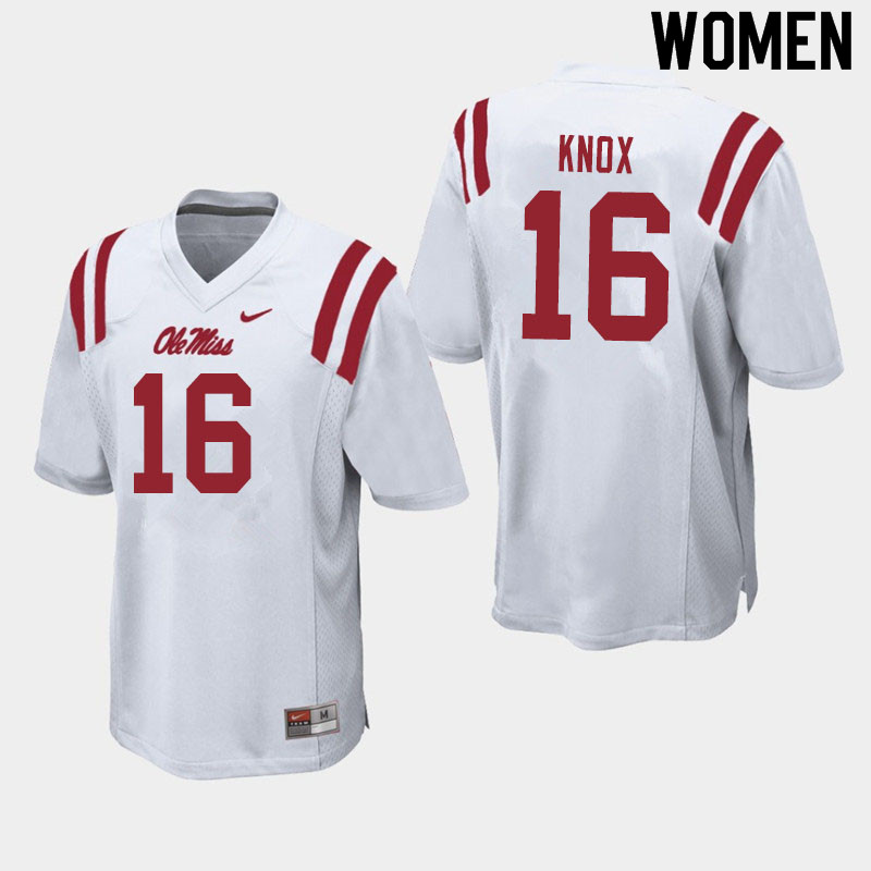 Women #16 Luke Knox Ole Miss Rebels College Football Jerseys Sale-White