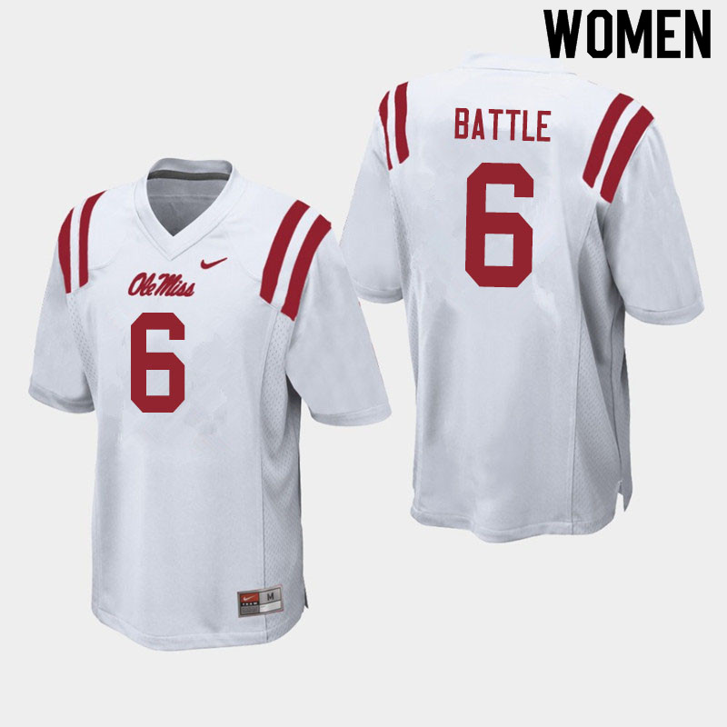 Women #6 Miles Battle Ole Miss Rebels College Football Jerseys Sale-White