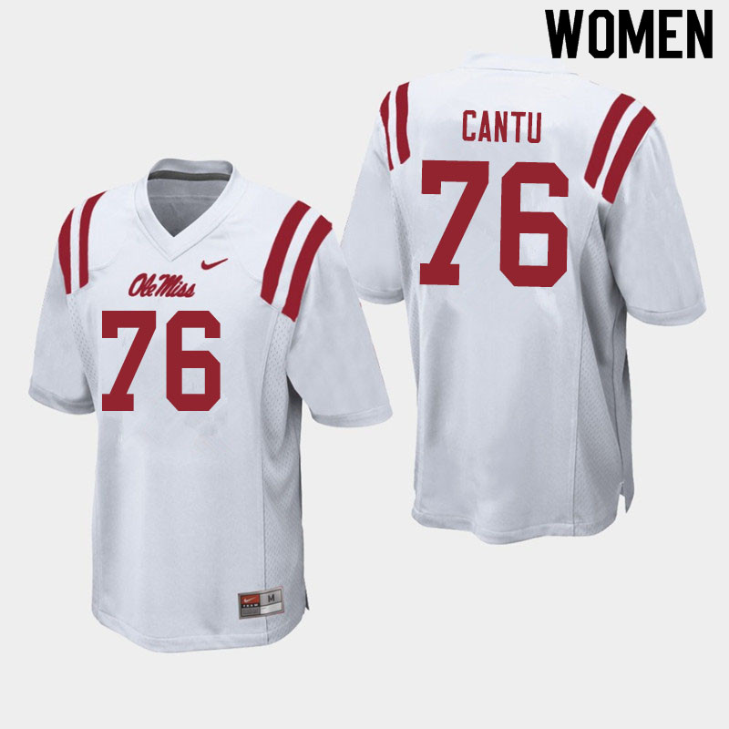 Women #76 Nic Cantu Ole Miss Rebels College Football Jerseys Sale-White