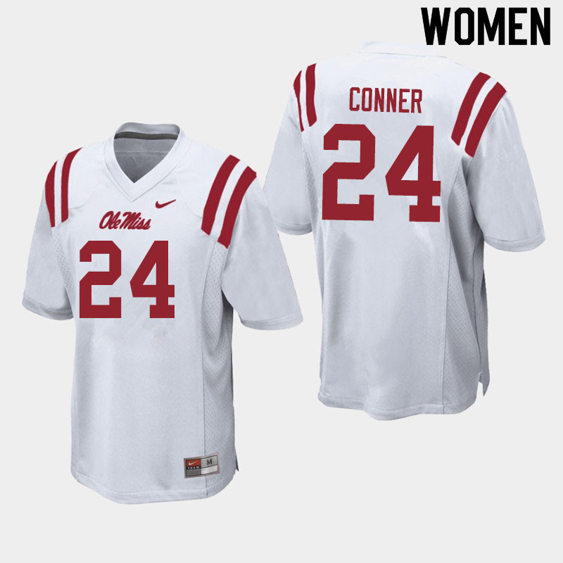 Women #24 Snoop Conner Ole Miss Rebels College Football Jerseys Sale-White