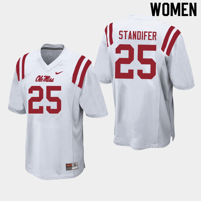 Women #25 Tavario Standifer Ole Miss Rebels College Football Jerseys Sale-White