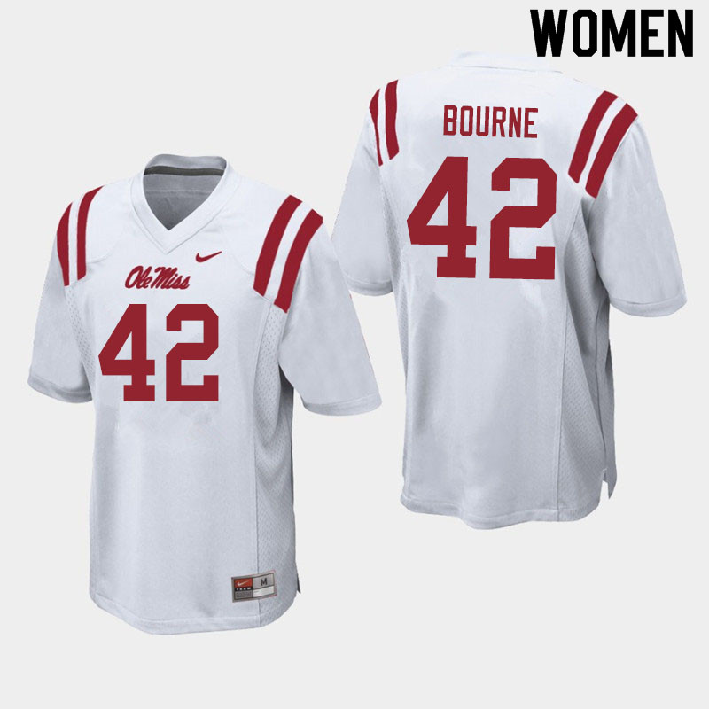 Women #42 Truett Bourne Ole Miss Rebels College Football Jerseys Sale-White