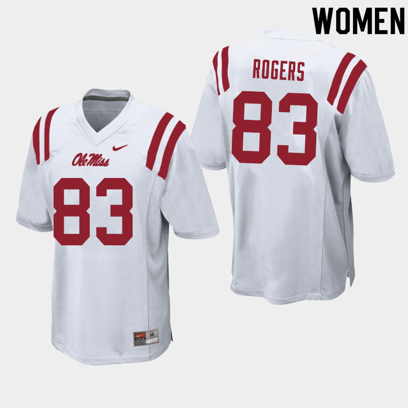 Women #83 Chase Rogers Ole Miss Rebels College Football Jerseys Sale-White