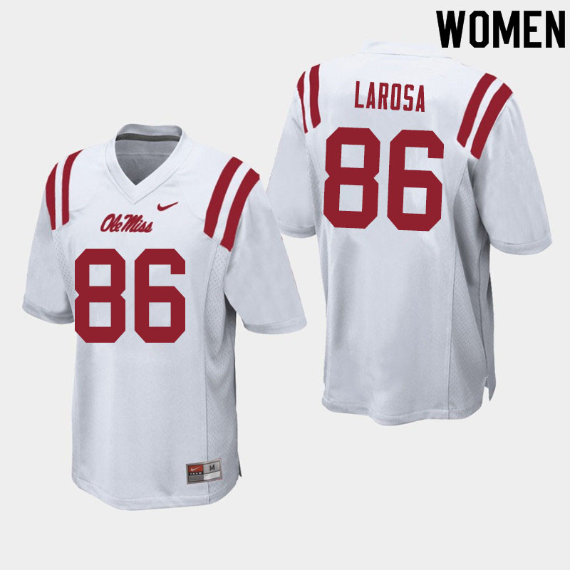 Women #86 Jay LaRosa Ole Miss Rebels College Football Jerseys Sale-White