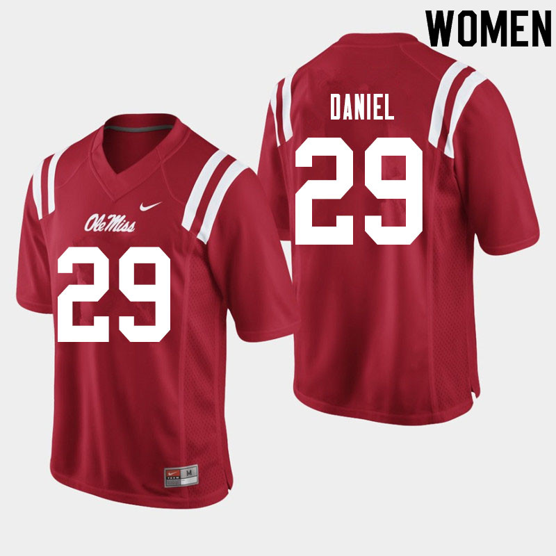 Women #29 Lakevias Daniel Ole Miss Rebels College Football Jerseys Sale-Red