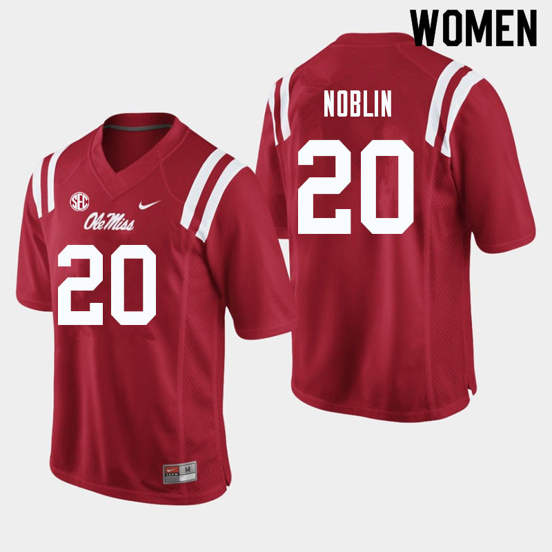 Women #20 Blake Noblin Ole Miss Rebels College Football Jerseys Sale-Red