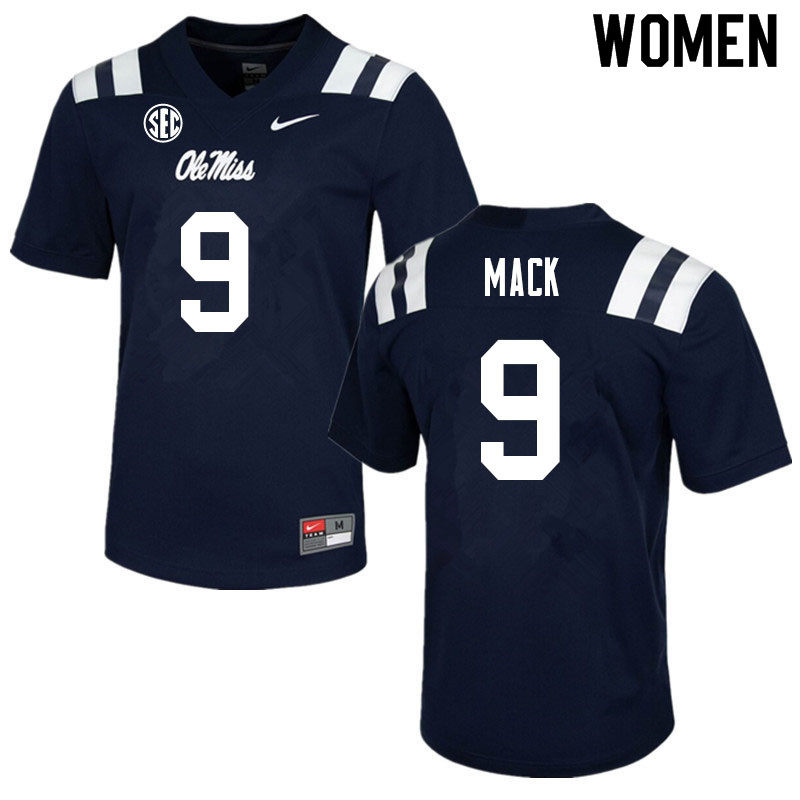 Women #9 Brandon Mack Ole Miss Rebels College Football Jerseys Sale-Navy