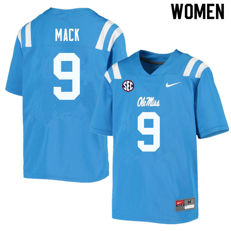Women #9 Brandon Mack Ole Miss Rebels College Football Jerseys Sale-Powder Blue