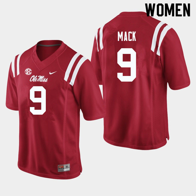 Women #9 Brandon Mack Ole Miss Rebels College Football Jerseys Sale-Red