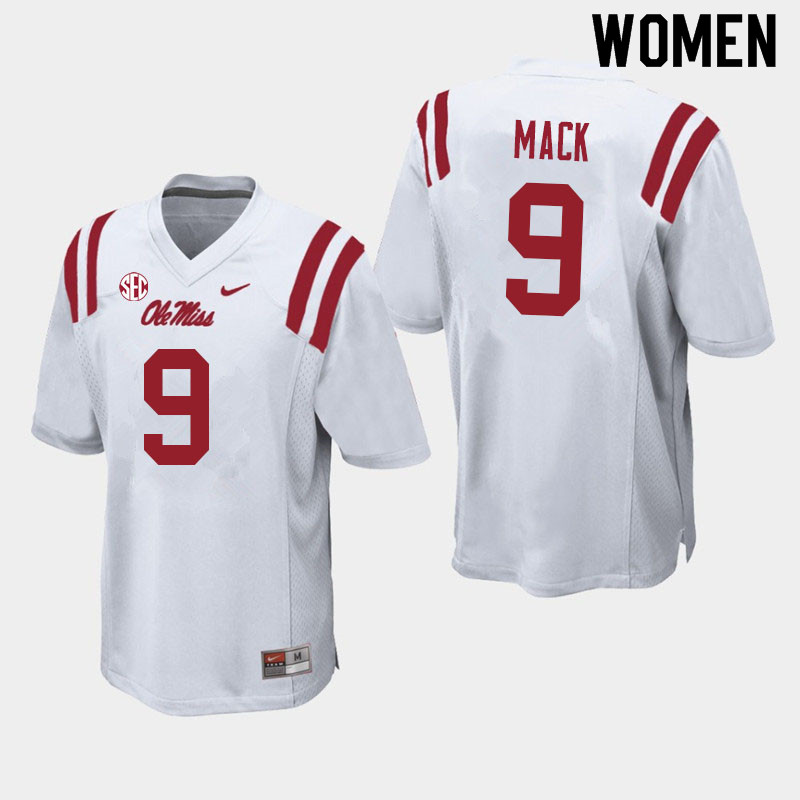 Women #9 Brandon Mack Ole Miss Rebels College Football Jerseys Sale-White