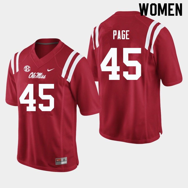 Women #45 Fred Page Ole Miss Rebels College Football Jerseys Sale-Red
