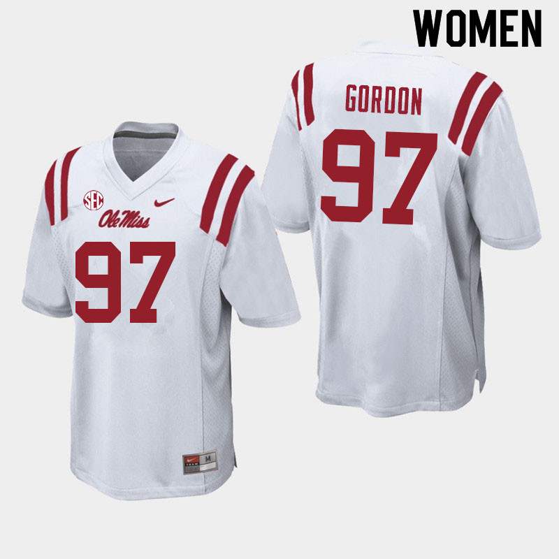 Women #97 Jamond Gordon Ole Miss Rebels College Football Jerseys Sale-White