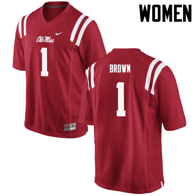 Women Ole Miss Rebels #1 A.J. Brown College Football Jerseys-Red
