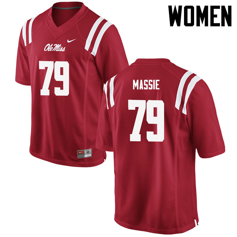 Women Ole Miss Rebels #79 Bobby Massie College Football Jerseys-Red