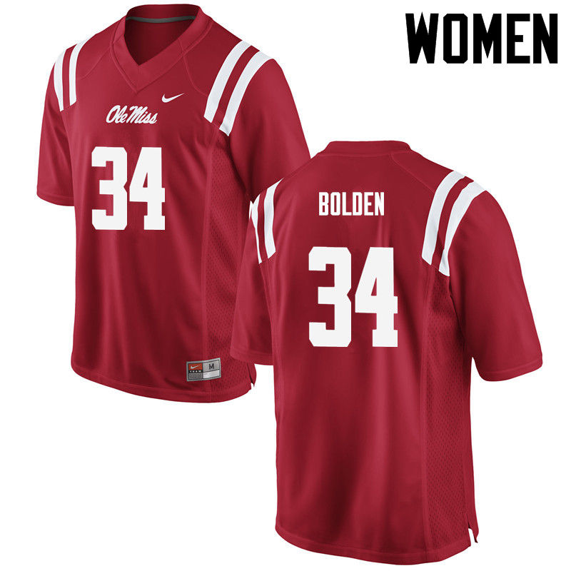 Women Ole Miss Rebels #34 Brandon Bolden College Football Jerseys-Red