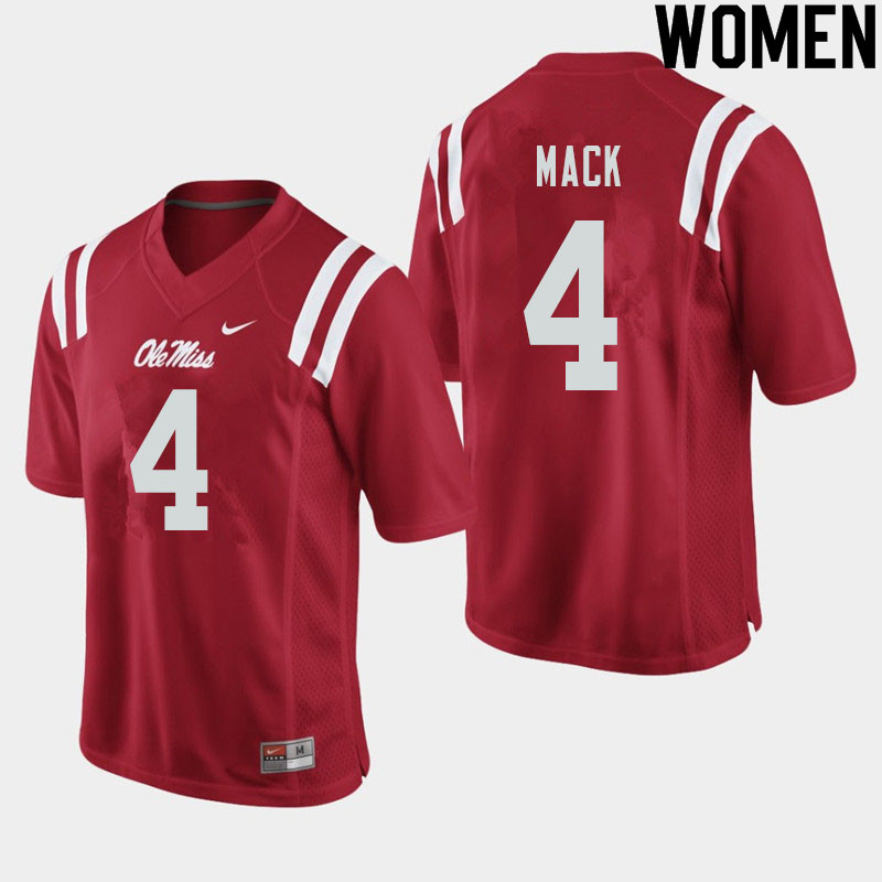 Women #4 Brandon Mack Ole Miss Rebels College Football Jerseys Sale-Red
