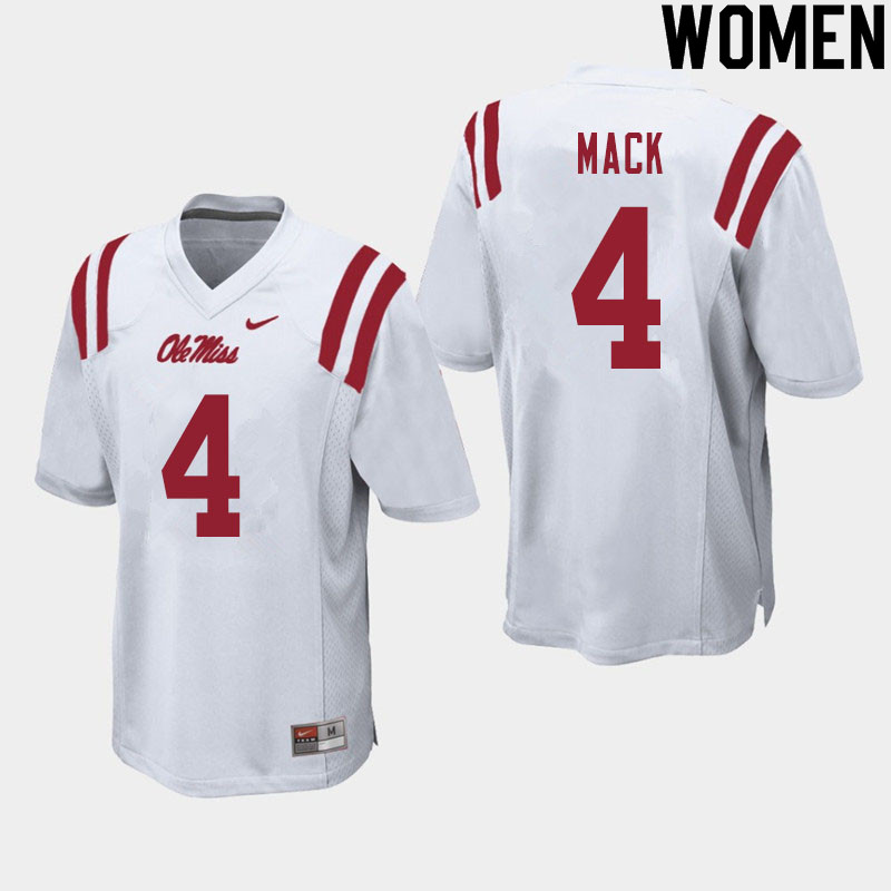 Women #4 Brandon Mack Ole Miss Rebels College Football Jerseys Sale-White