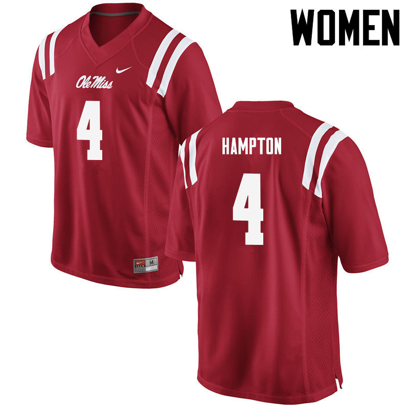 Women Ole Miss Rebels #4 C.J. Hampton College Football Jerseys-Red