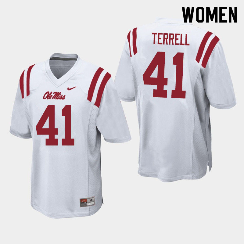 Women #41 C.J. Terrell Ole Miss Rebels College Football Jerseys Sale-White