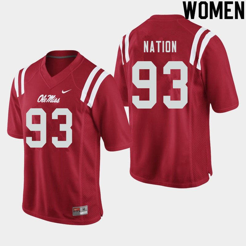 Women #93 Cale Nation Ole Miss Rebels College Football Jerseys Sale-Red